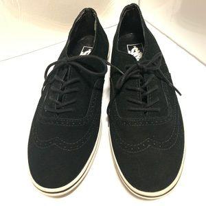 Vans black suede lace up shoes size W8/M6.5